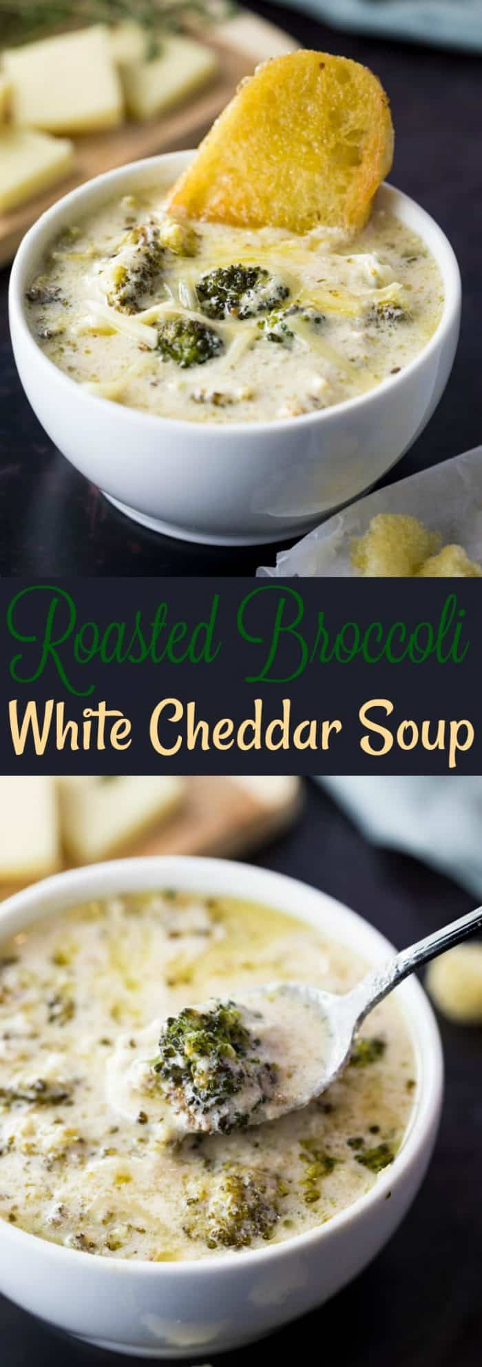 Creamy white cheddar cheese soup enriched with the flavors of perfectly roasted broccoli and melted Parmesan. | The Cozy Cook| #soup #broccoli #recipe #cheese #cheddar