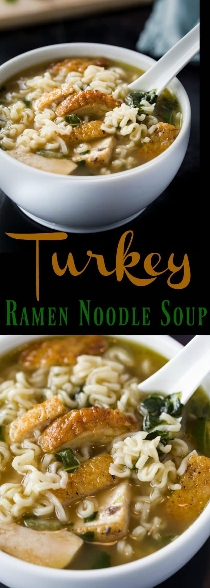 Juicy turkey is heated in sesame oil with a splash of soy sauce, then immersed in a savory turkey stock with Bok Choy and classic Ramen Noodles. | The Cozy Cook | #soup #turkey #ramennoodles #comfortfood #recipe #easyrecipes #meat #protein #thanksgivingleftovers