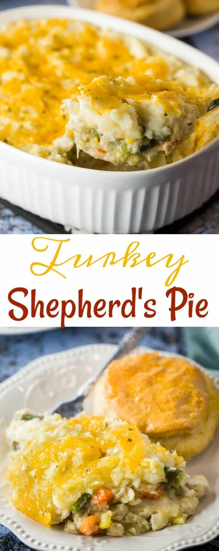 Juicy turkey tossed with a medley of vegetables and gravy. All topped with cheesy mashed potatoes and baked to golden perfection. #turkey #casserole #shephardspie #potatoes #thanksgivingleftovers #recipe #easyrecipes #dinner #comfortfood