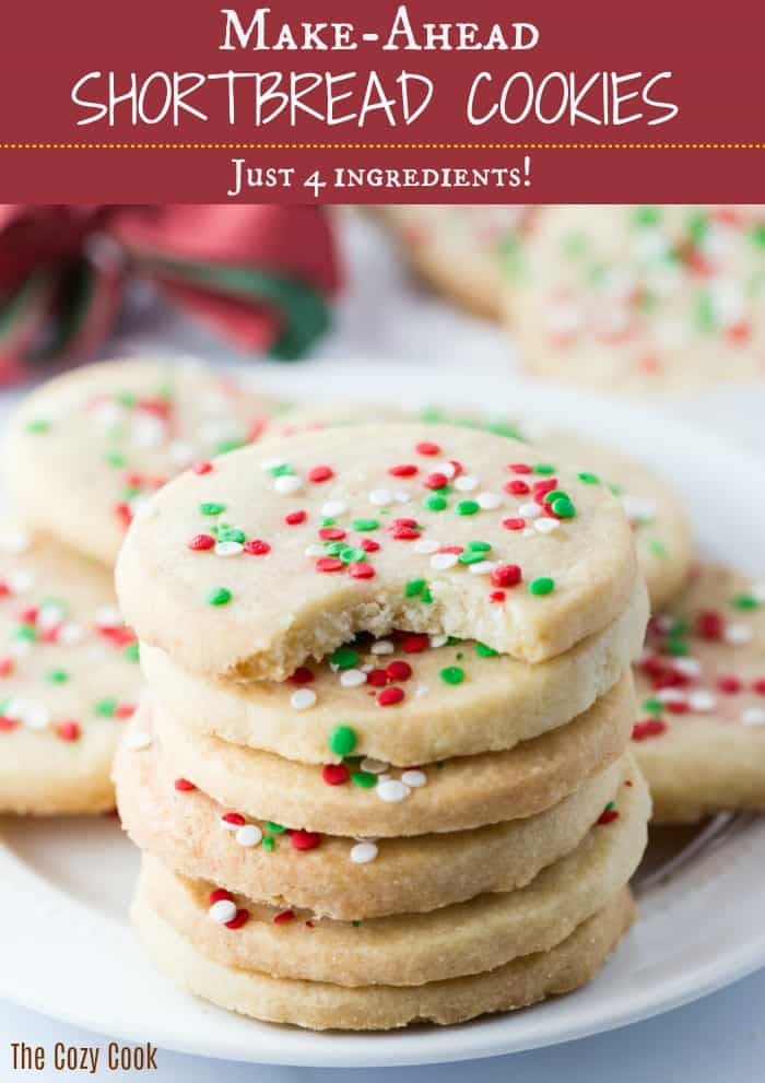 These soft, sweet, and buttery shortbread cookies only require 4 ingredients! BONUS: the cookie dough is easy to make days or even weeks ahead of time until ready to bake!  | The Cozy Cook | #shortbread #cookies