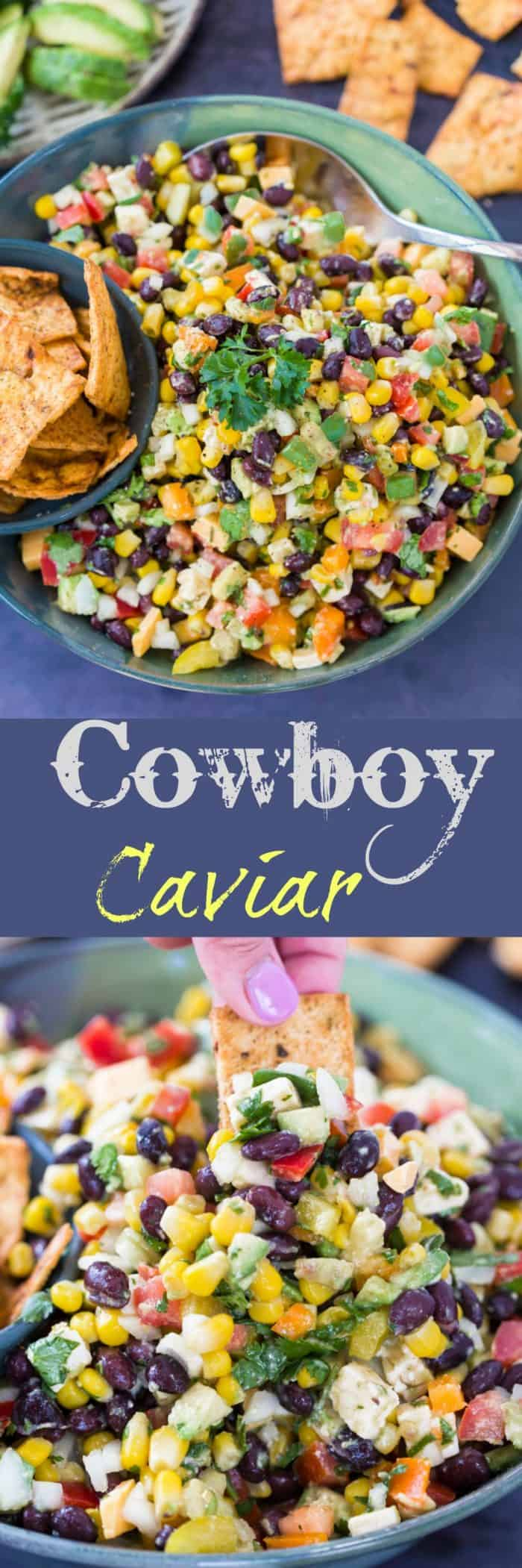 This cowboy caviar is loaded with black beans, sweet corn, avocado, and a delicious variety of other ingredients that blend perfectly together in this easy to make dip. | The Cozy Cook | #Dip #Appetizers #Beans #Vegetarian #Meatless #CowboyCaviar #Corn #BlackBeans #SummerRecipes