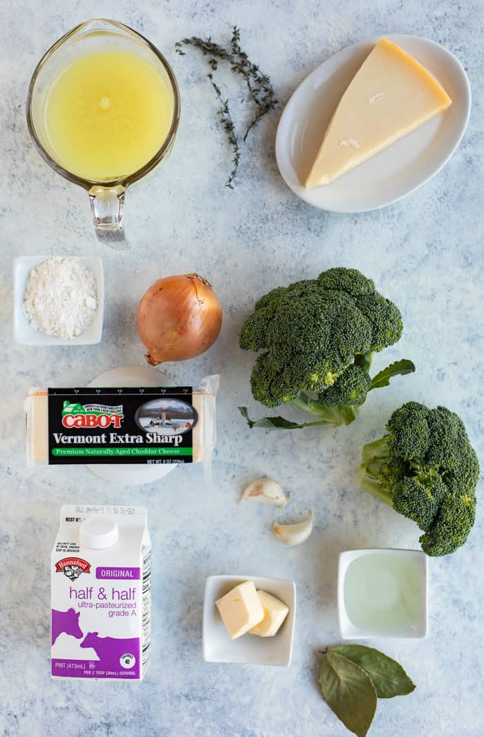 Overhead shot of ingredients needed to make Roasted Broccoli and White Cheddar Soup
