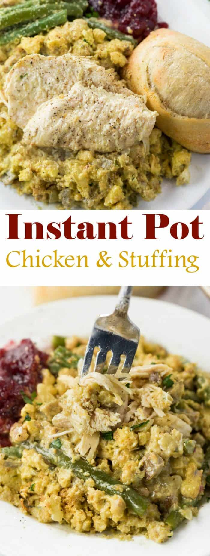 Instant Pot Chicken and Stuffing: Moist and flavorful chicken that's quickly cooked to perfection along with savory stuffing and fresh green beans. With a max of 22 minutes of cooking time, you'll be eating in no time! | The Cozy Cook| #instantpot #chicken #stuffing #dinner #recipe