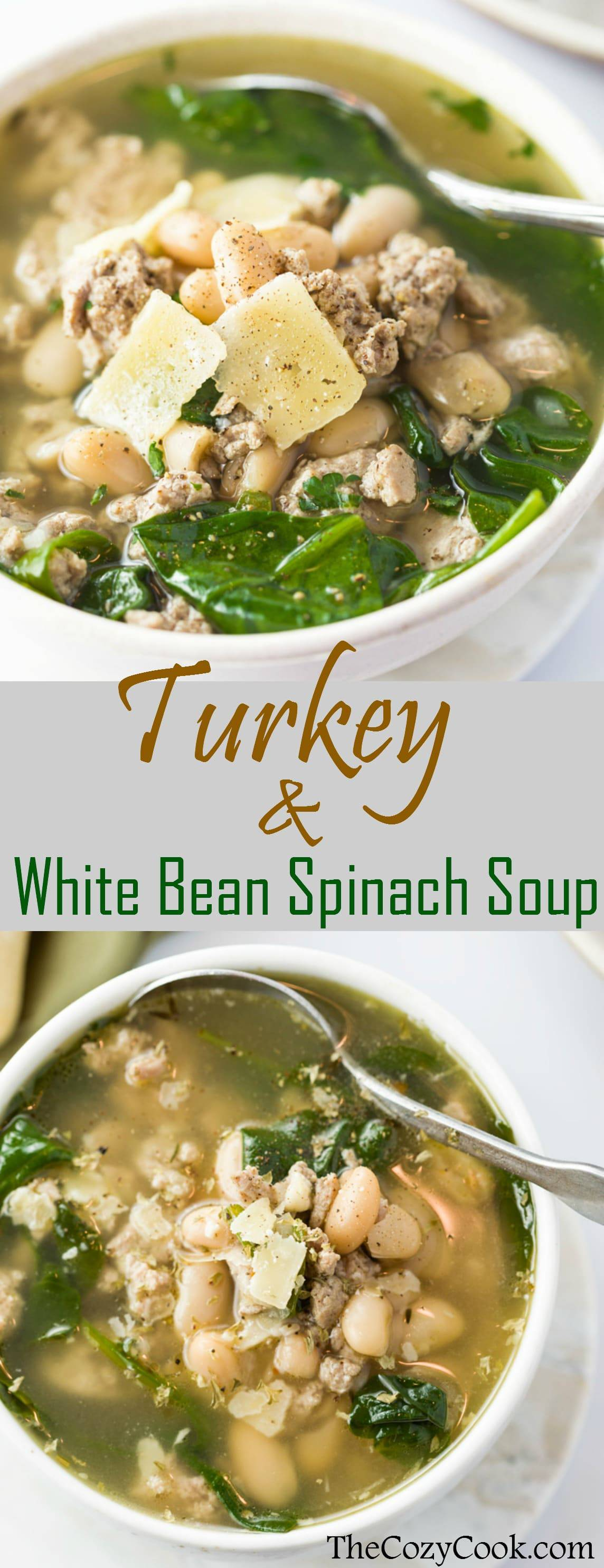 Ground Turkey simmered in savory chicken broth with white beans, spinach, and simple seasonings. A healthy, protein-packed meal that will leave you feeling comforted and satisfied!| The Cozy Cook | #soup #turkey #healthy #broth #whitebeans #protein