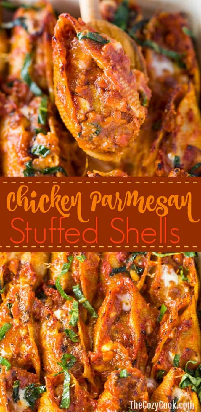 Savory Pasta shells stuffed with chicken parmesan and a cheesy marinara sauce, all topped with melted mozzarella and fresh basil. | The Cozy Cook | #Italian #Dinner #Pasta #StuffedShells #Dinner #Chicken #ChickenParmesan