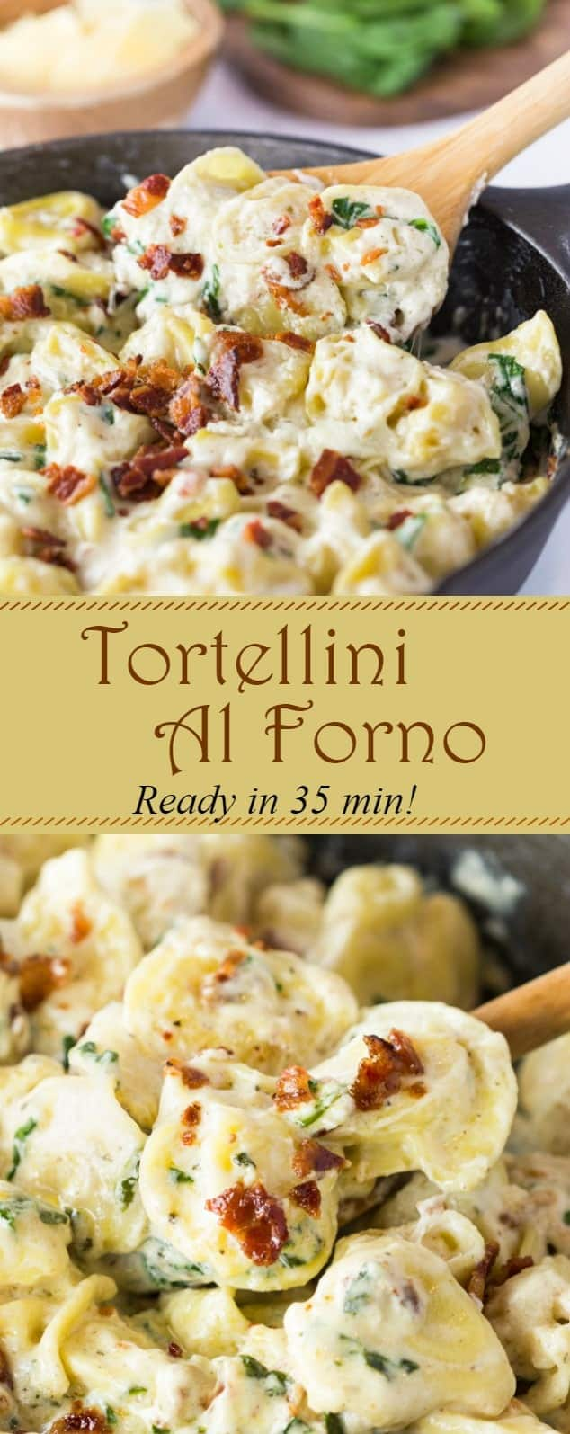 This Tortellini Al Forno features stuffed tortellini tossed in a rich and creamy garlic cheese sauce and topped with crumbled bacon. | The Cozy Cook | #Tortellini #Pasta #OliveGarden #AlForno #Dinner, #Cheese #Parmesan #Bacon #Dinner #ComfortFood #CreamSauce