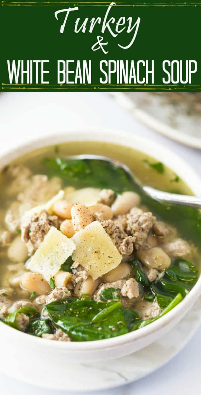 Ground Turkey simmered in savory chicken broth with white beans, spinach, and simple seasonings. A healthy, protein-packed meal that will leave you feeling comforted and satisfied! | The Cozy Cook | #Soup #Turkey #Healthy #Spinach #Beans #Protein #LowCarb #Broth