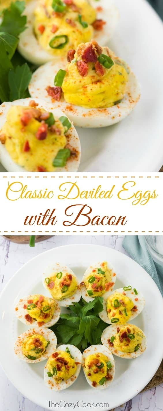 This classic deviled egg recipe is easy to make, and perfect for a crowd! The crumbled bacon and green onion garnishes are the perfect way to top the creamy filling. | The Cozy Cook | #deviledeggs #eggs #sidedish #picnicfood #easter #recipe #summerfood #makeaheadmeals #foodprep #breakfast #bacon