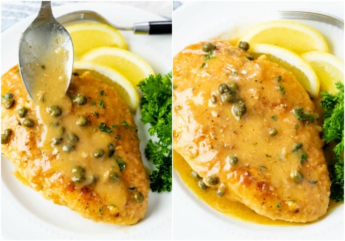 Chicken Piccata on a white plate with sauce being drizzled on top and lemons in the background.