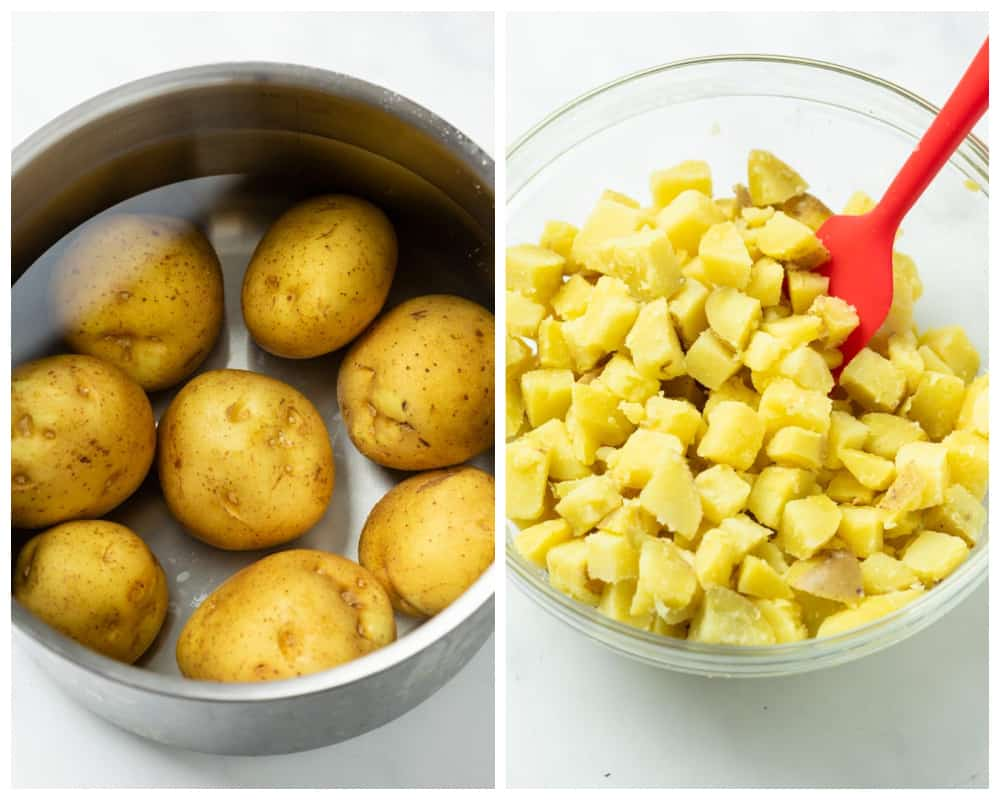 A pot of yukon potatoes in water next to a bowl of diced cooked potatoes.