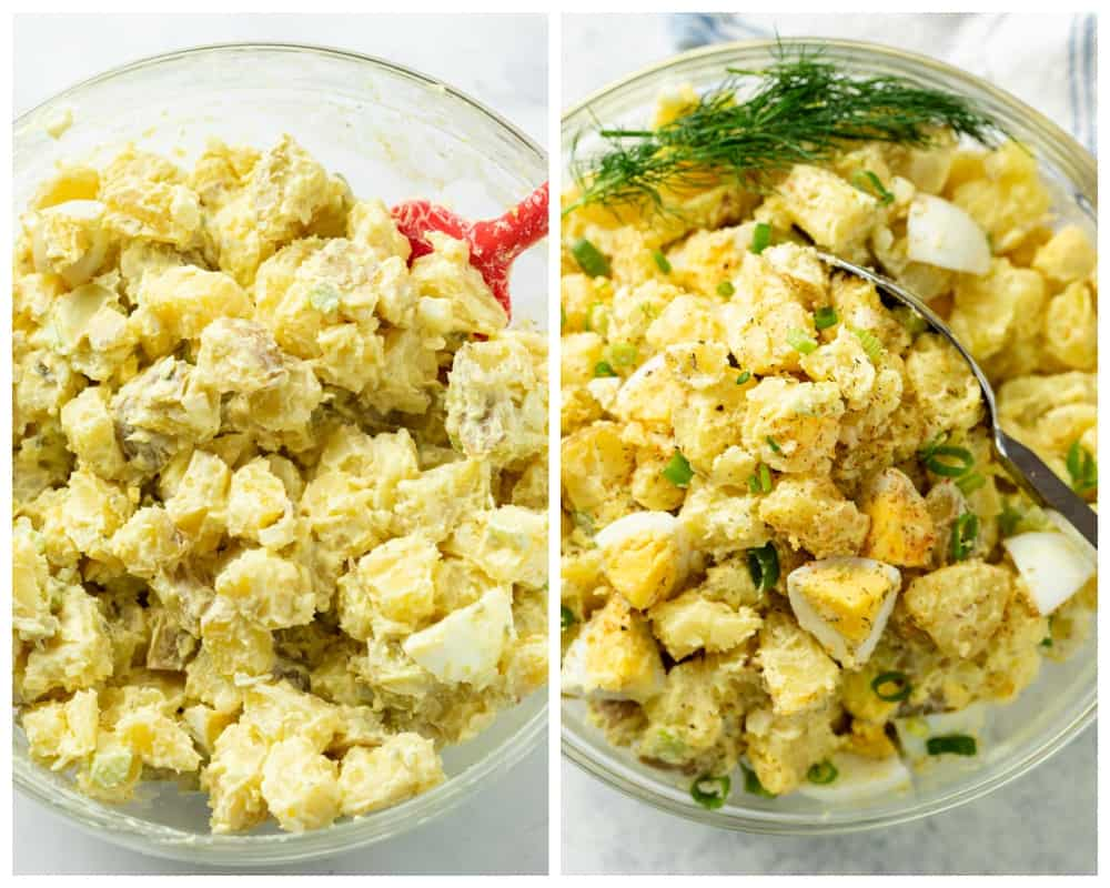 Potato Salad before and after being garnished for serving.