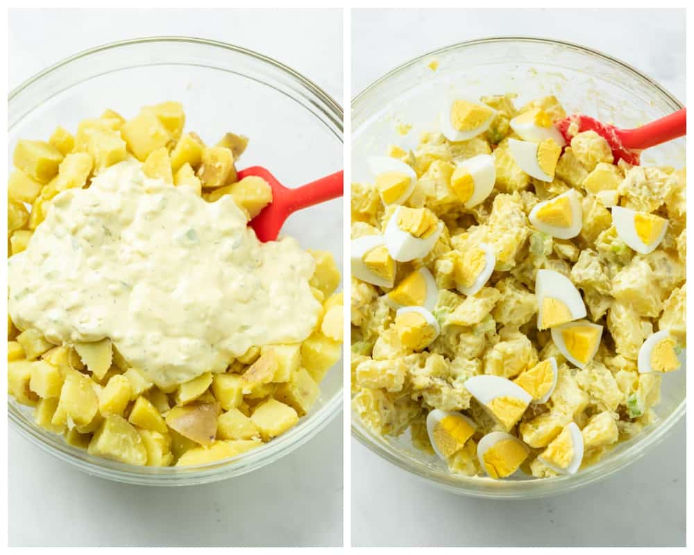 Potato Salad before and after being mixed with mayo mixture.