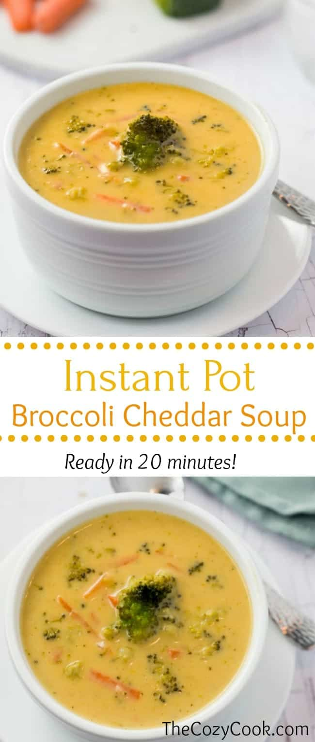 This thick and creamy instant pot broccoli cheddar soup soup is loaded with fresh broccoli and your favorite cheeses, and is ready in less than 20 minutes start to finish! | The Cozy Cook | #Soup #InstantPot #Broccoli #Cheddar #Cheese #ComfortFood #Cheddar #Dinner #Recipe