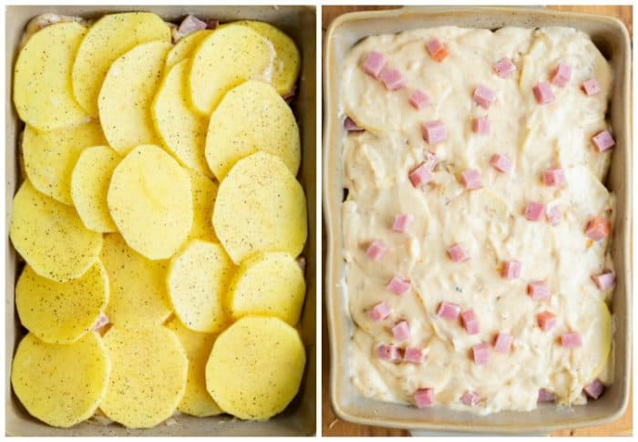 Side by side pictures of potatoes in a casserole dish then topped with cheese sauce and ham