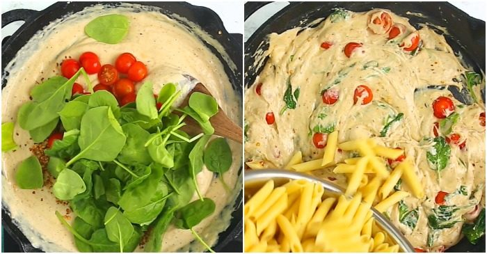 A collage of two cast iron skillets with creamy pasta sauce being prepared.