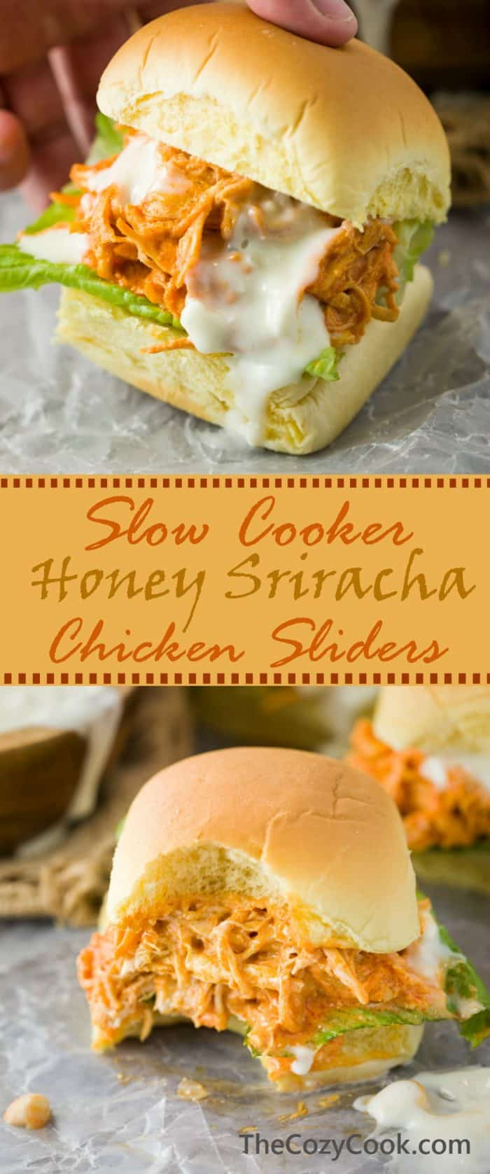These slow cooker honey sriracha chicken sliders feature tender, slow cooked shredded chicken smothered in a sweet and tangy honey sriracha sauce, placed in a fresh slider roll and drizzled with savory blue cheese. | The Cozy Cook | #Sriracha #Chicken #Sliders #HoneySriracha #Sandwiches #SlowCooker #CrockPot #BlueCheese #BuffaloSauce