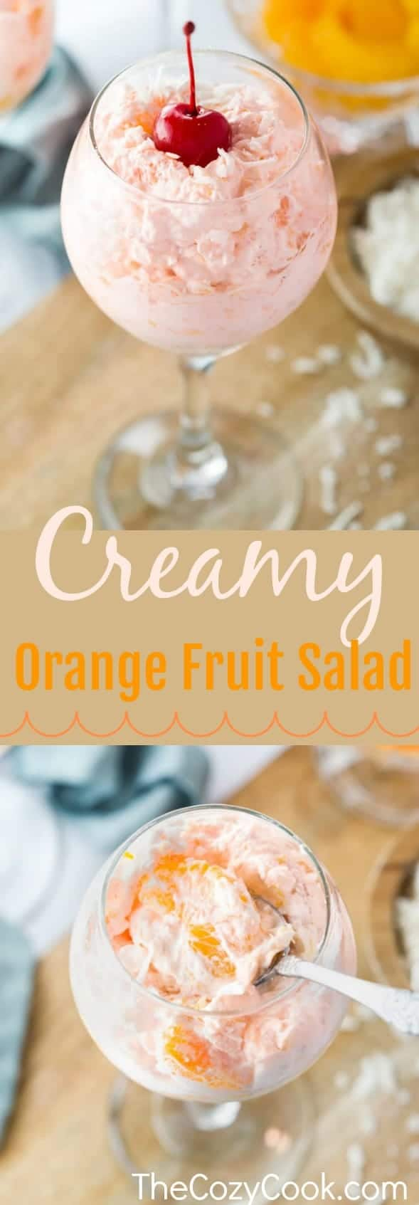 This creamy orange fruit salad is loaded with an easy combination of mandarin oranges, crushed pineapple, coconut flakes, and an orange-flavored cool whip mixture that's topped with maraschino cherries.#Fruit #Salad #Oranges #Creamy #Mandarin #Side Dishes #Summer Food #CoolWhip #Brunch #Dessert #Holidays