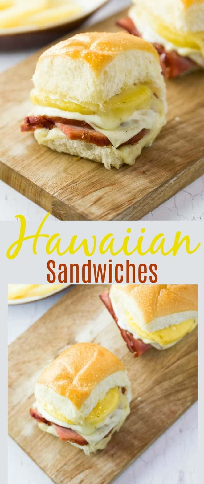 These Hawaiian sandwiches feature freshly baked rolls that are that are filled with savory ham, sweet pineapple, and layers of melted cheese. The rolls are baked in the oven and brushed with melted butter and a sprinkling of salt.  #Sandwiches #Hawaiian #Ham #Pineapple #Sliders #Lunch #Kids #SummerRecipes