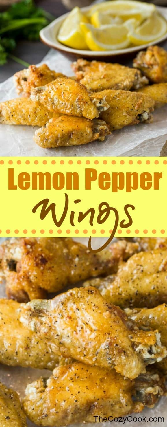 These lemon pepper wings are ultra crispy and brushed with a simple combination of lemon and butter, then topped with freshly ground pepper. This post also includes tips on how to perfectly grill, bake, and fry the perfect crispy chicken wing. #chickenwings #wings #chicken #lemonpepper #lemon #appetizers #friedchicken #bakedchicken #grilledchicken #grilling #meat #partysnacks