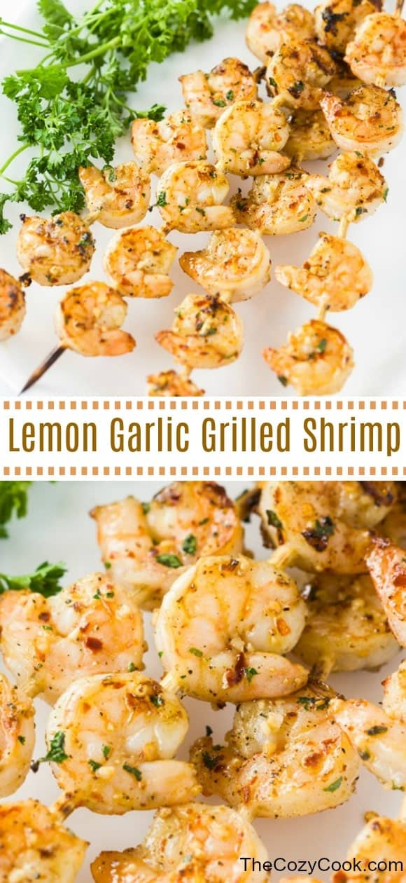 This simple lemon garlic marinade takes just minutes to throw together and gives you flavorful grilled shrimp that you'll want to eat all summer long! Plus, must-have tips for grilling shrimp!  | The Cozy Cook | #shrimp #grilling #seafood #grilledshrimp #lemon #garlic #keto