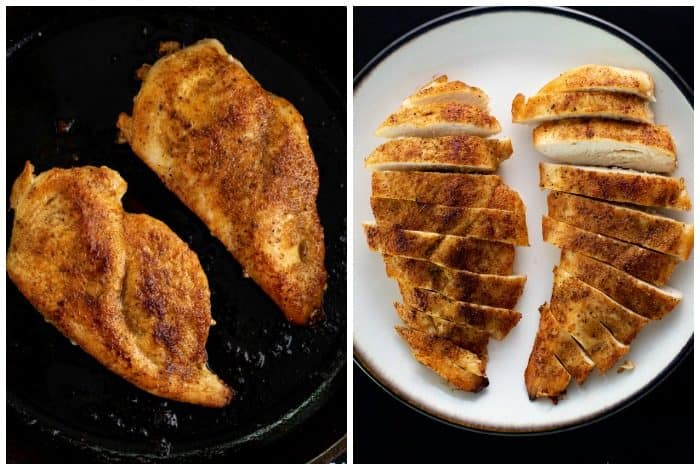 Overhead shot of seared chicken in a pan next to an image of the chicken on a plate after being sliced.