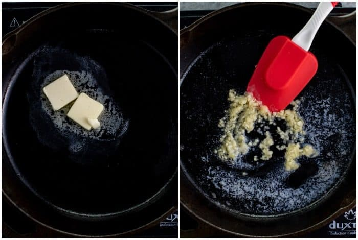 Process shots of melting butter in a skillet and adding minced garlic.