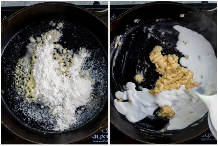 process shots of minced garlic with flour on top and half and half being poured in to make alfredo sauce.