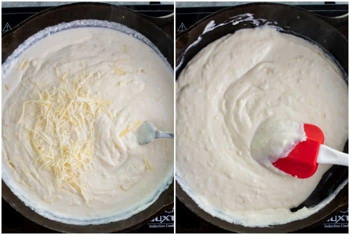 process shots of Parmesan being added to a white base to make creamy alfredo sauce.