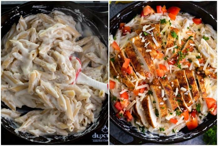 Cast iron skillets filled with penne covered with creamy alfredo and topped with seared chicken and diced tomatoes.