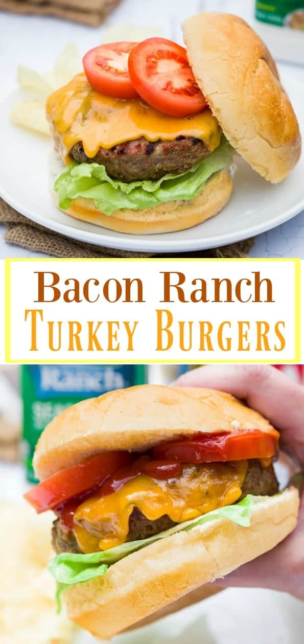 These mouth-watering turkey burgers are loaded with crispy, crumbled bacon that's molded right into the burger patty before being sprinkled with classic ranch seasoning. | The Cozy Cook | #turkey #burgers #lunch #grilling #Dinner #Ranch #Bacon #Cheeseburgers