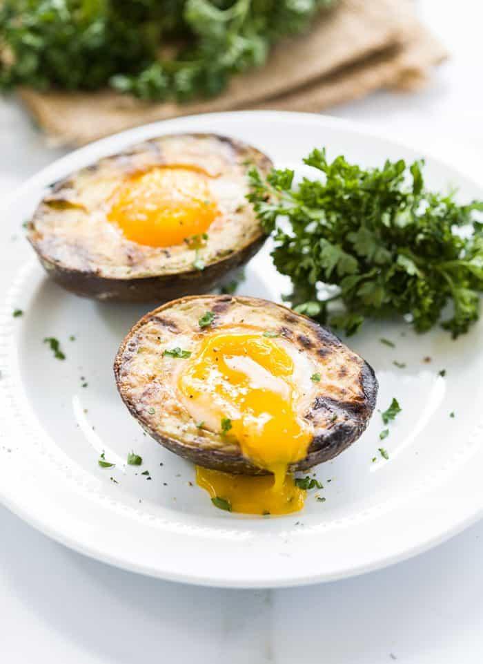 egg yolk in avocado