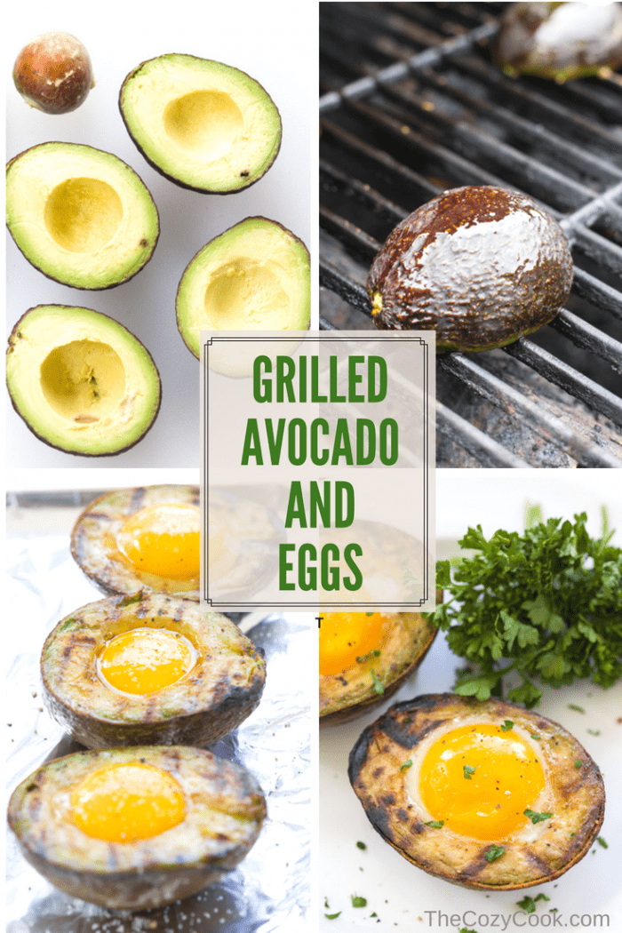 Fresh avocados grilled to perfection and filled with a protein-packed egg. This energizing grilled breakfast will fill you with energy to take on the day! | The Cozy Cook | #Avocado #Eggs #Keto #LowCarb #Protein #Healthy #Grilling #Summer #Brunch #Yolk