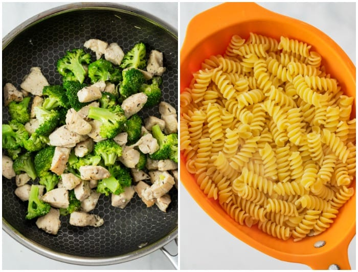 A skillet with cooked chicken and broccoli next to a strainer with cooked rotini.