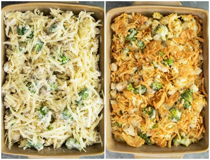 A casserole Dish of chicken noodle casserole before and after being baked.