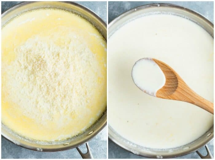 Final steps in making Alfredo sauce by adding cheese to a pot and stirring it into the sauce