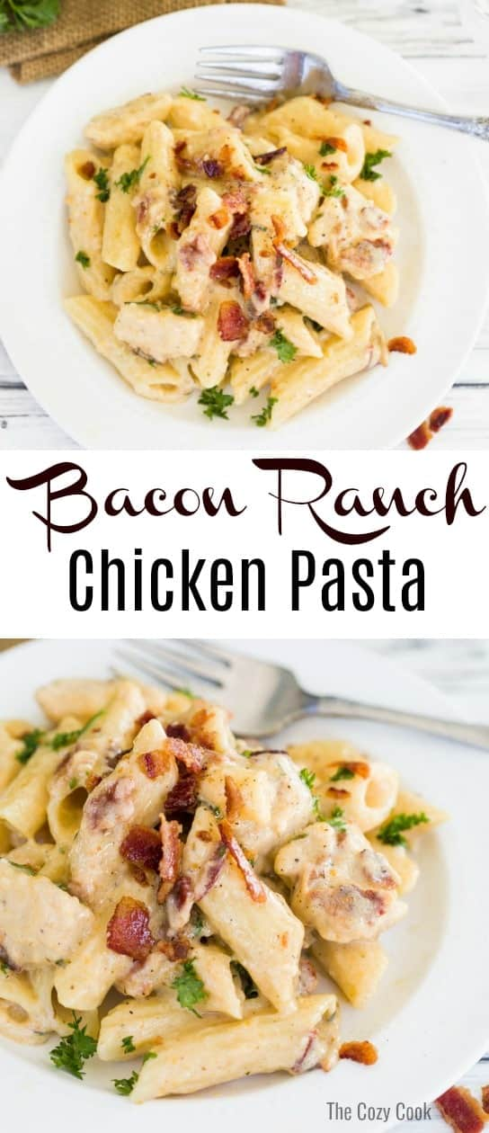 Savory Pasta smothered in a creamy ranch sauce with bites of seared chicken and crispy bacon. | The Cozy Cook | #pasta #bacon #ranch #comfortfood #italian #creamsauce #dinner #main