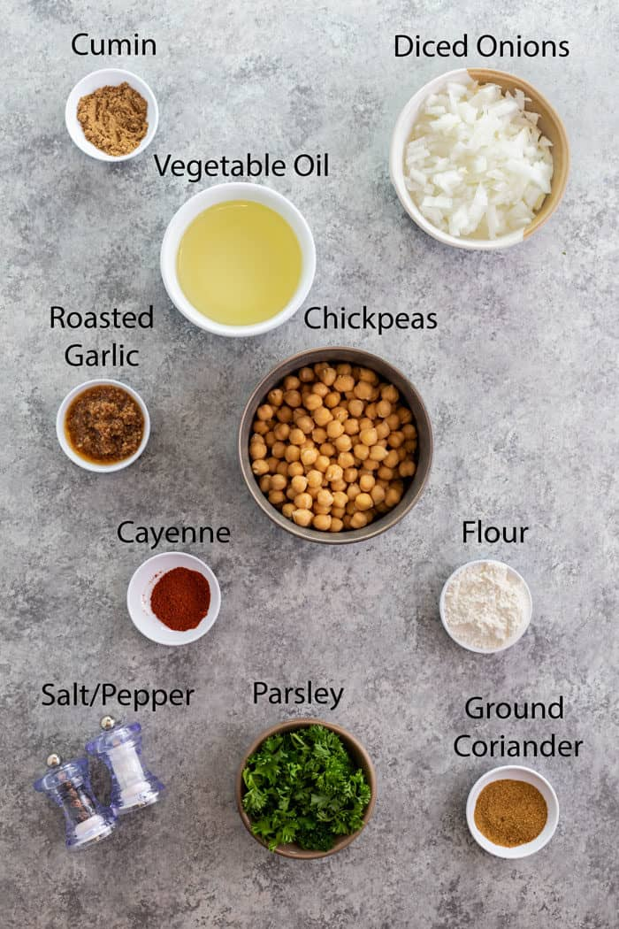overhead view of ingredients needed to make homemade falafel.