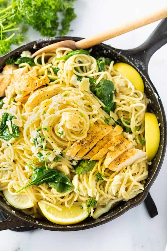 Lemon Ricotta Parmesan Pasta With Chicken Spinach The Cozy Cook