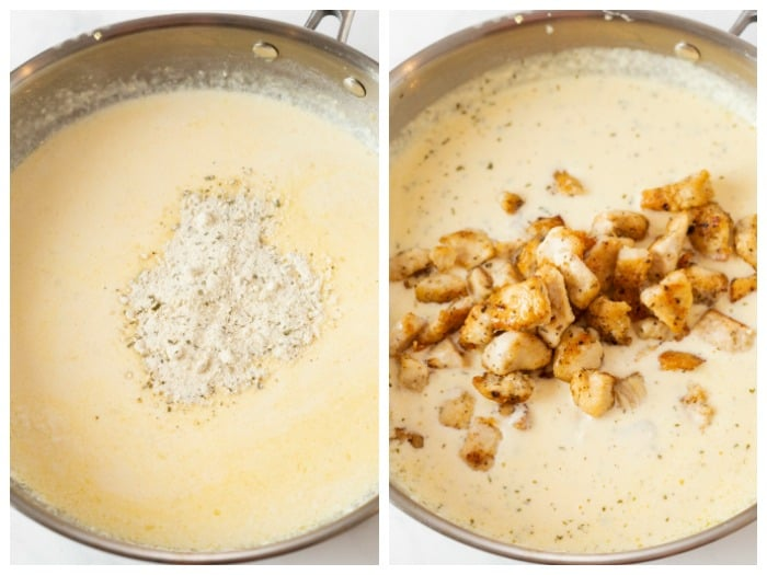 A cream sauce with ranch seasoning and diced chicken being added.