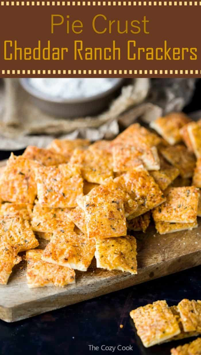 These homemade crackers are made from pie crust and topped with loads of savory cheddar cheese and zesty ranch seasoning! They are baked to perfection and make a perfect snack!   | The Cozy Cook | #homemade #crackers #snacks #cheddar #ranch #cheese
