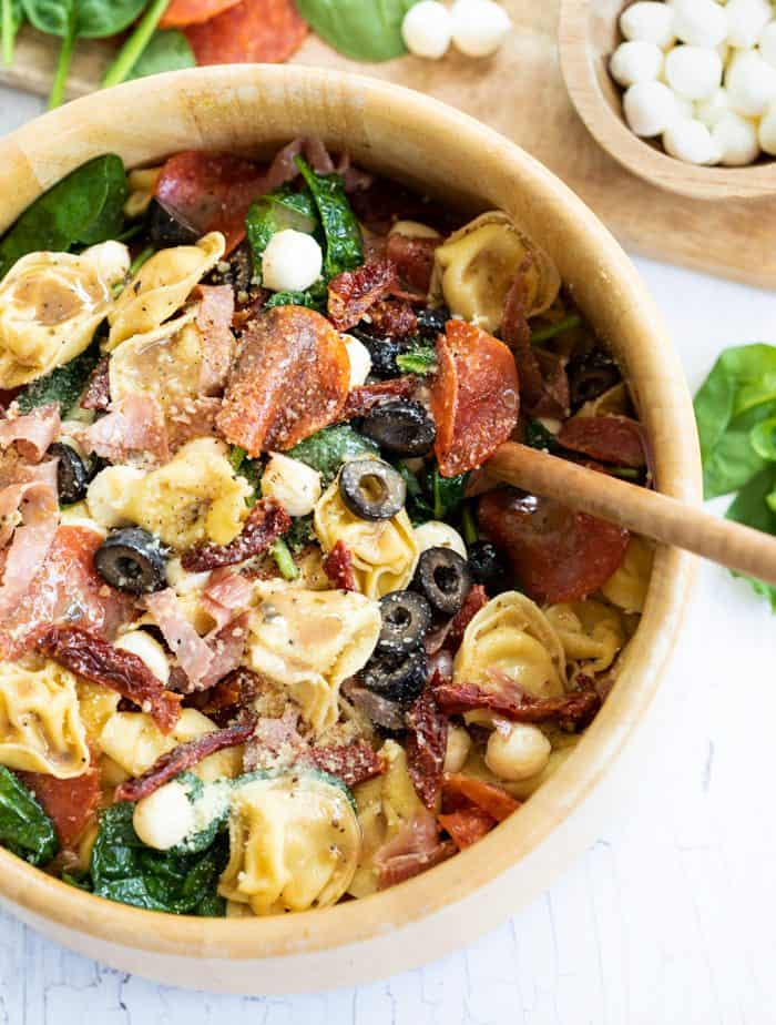 Wooden Bowl filled with Tuscan Tortellini Salad