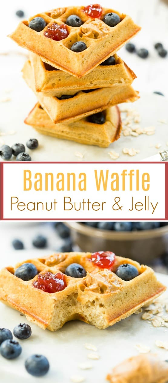 Homemade banana oat bread waffles put a fun twist on your average peanut butter and jelly sandwich! This will be something your kids will be excited to take to school! | The Cozy Cook | #sanwich #waffles #banana #peanutbutter #jelly #lunch #recipesforkids