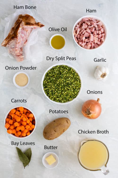 overhead view of ingredients to make split pea soup.