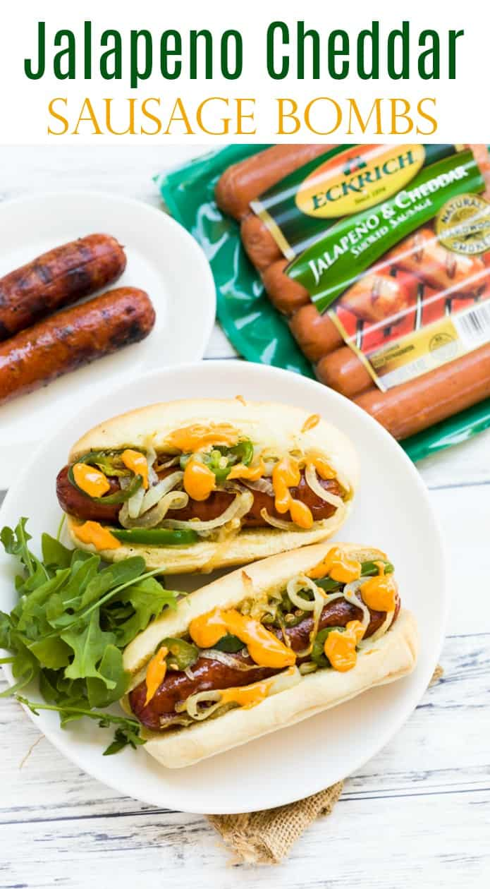 Juicy smoked sausage that's grilled to perfection and topped with grilled onions, jalapenos, and nacho cheese! | The Cozy Cook | #lunch #dinner #sausage #grilling #easyrecipes #main #meat #sandwich #jalapeno