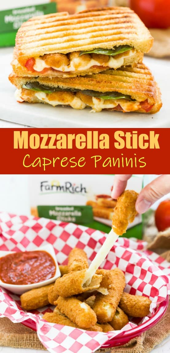 Extra crunchy, cheese-filled mozzarella sticks inside a freshly grilled panini with tomatoes and basil. | The Cozy Cook | #panini #caprese #sandwich #meatless #mozzarella #lunch #summerrecipes