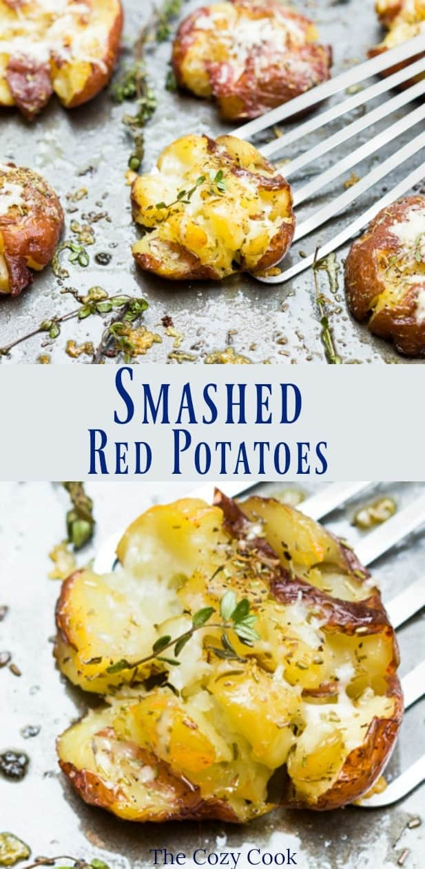 These crispy red smashed potatoes are brushed with olive oil and seasoned with my grandmother's spice mixture. They are baked to golden perfection and topped with a sprinkling of Asiago cheese. | The Cozy Cook | #potatoes #sidedishes #redpotatoes #roastedpotatoes #asiago #seasoning #meatless #comfortfood