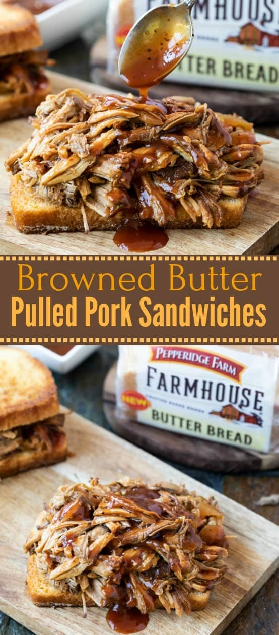 This Crock Pot pulled pork simmers with a perfect blend of ingredients until it falls apart by the touch of a fork! It's then served with thick slices of grilled browned butter bread. | The Cozy Cook | #pulledpork #pork #crockpot #slowcooker #sandwiches #meat