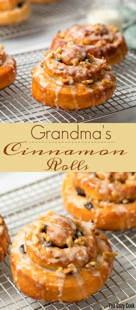 This homemade cinnamon roll recipe has been passed down for generations in my family. The soft, airy dough is rolled in a cinnamon sugar mixture, tossed with raisins and nuts, and drizzled with icing. | The Cozy Cook | #rolls #cinnamon #bread #rolls #brunch #breakfast #cinnamonrolls