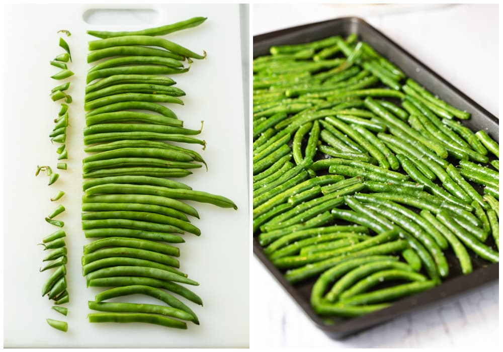 Fresh green beans lined up with the stems cut off next to green beans on a dark baking sheet.