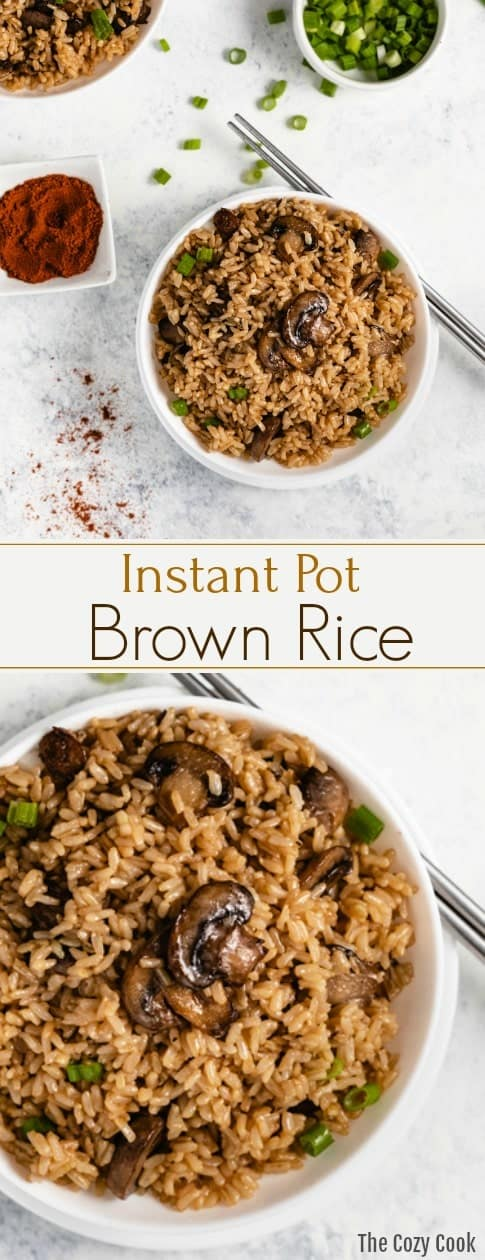 This Instant Pot Brown Rice is pressured cooked in a beef and chicken broth combination and tossed with sauteed mushrooms and diced green onions. This is the most flavorful and perfectly cooked rice you'll ever make! | The Cozy Cook | #rice #instantpot #brownrice #sides #sidedish